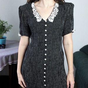 Miss Dorby • vtg button down polka dot maxi dress
